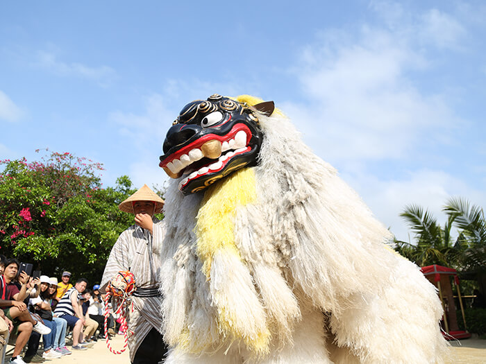"Powerful lion dancers and ""wakuya"", the lion handlers, come in a parade called Michi-junee."