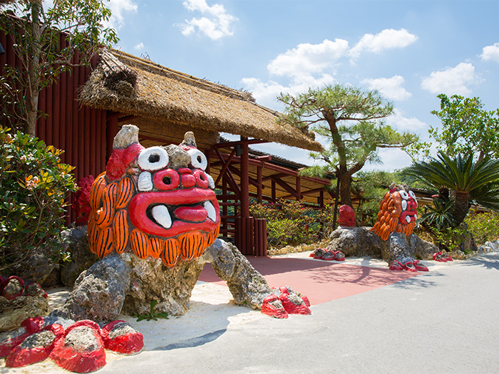 The giant shisa are popular with kids.