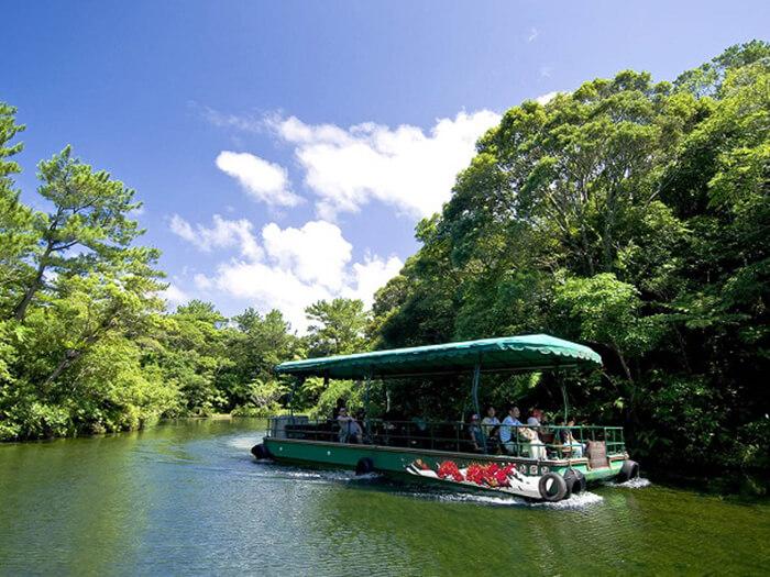 湖水観賞舟 曲がりくねった森の中の湖をゆっくりと進むジャングルクルーズは、自然を身近に感じることができる