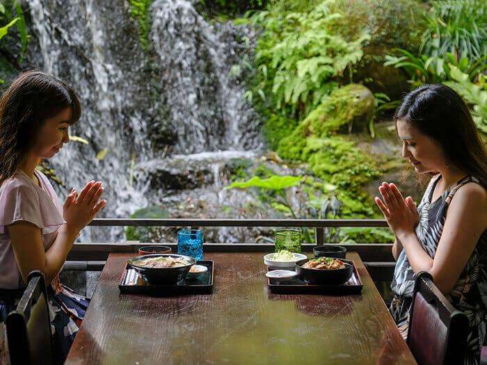 滝や風で緑がそよぐ音とマイナスイオンを感じられるテラス席は大人気