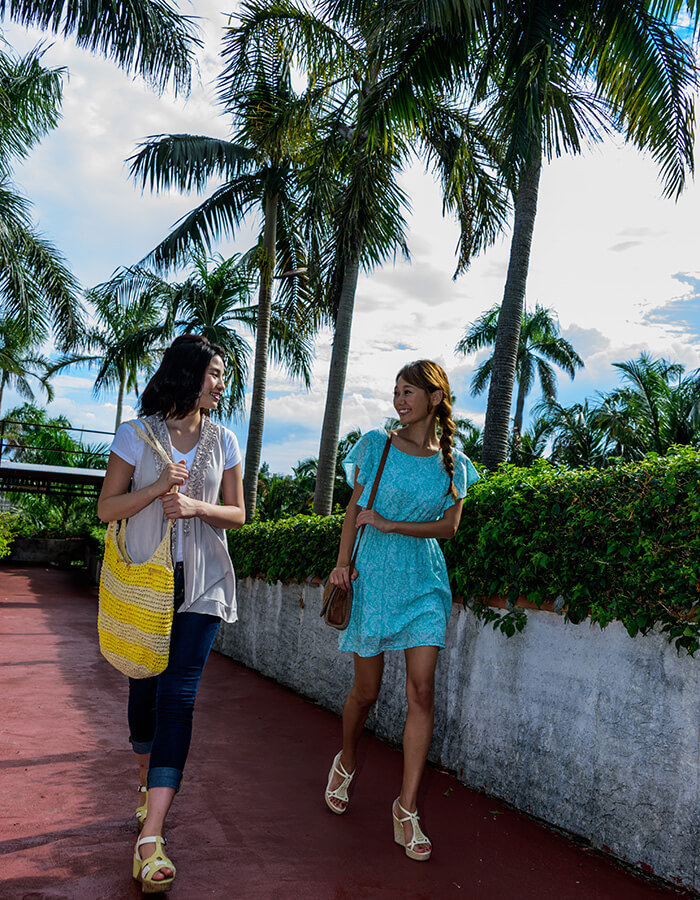 悠閒地在亞熱帶植物園散步