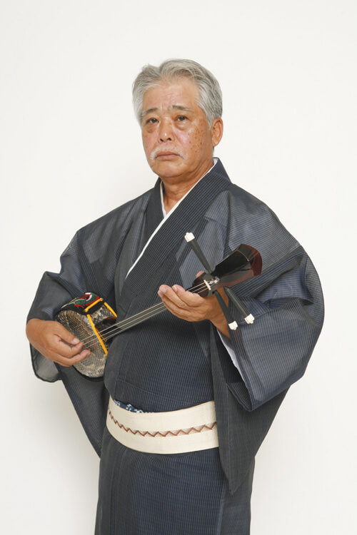 Sadao China, the owner of the shop, is a leading figure of Okinawan folk singing.
