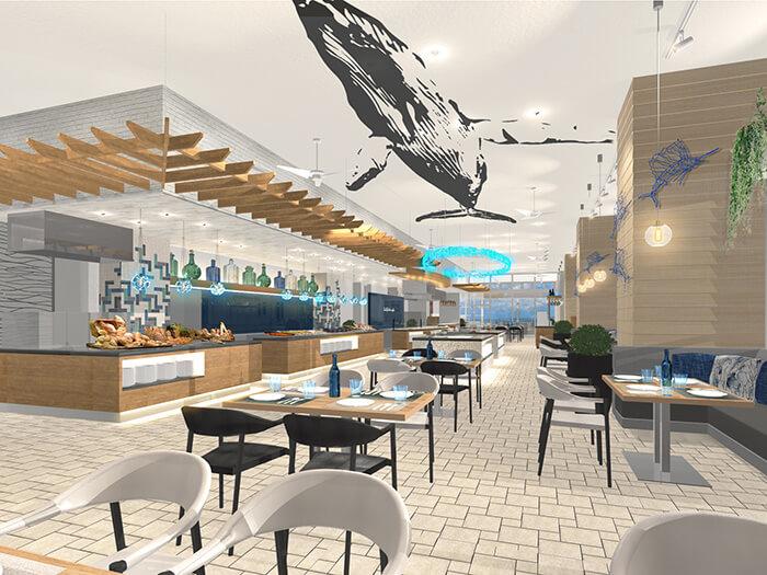 セイルフィッシュカフェ  2020年3月にリニューアルオープン。 沖縄発のアジアンフュージョンのブッフェ料理が楽しめる。