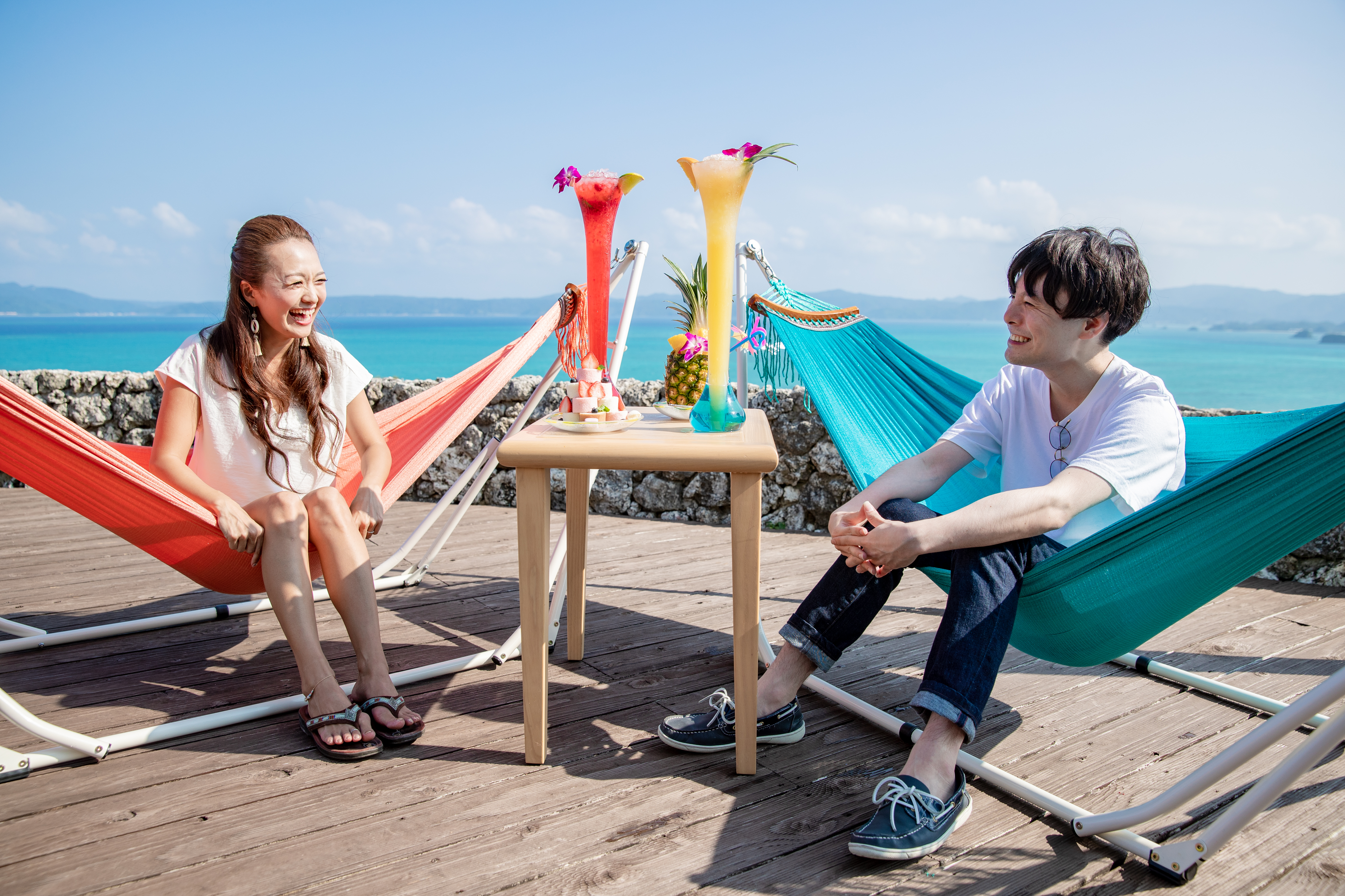 Limited only between May to Novemeber, customers can gaze at the spectacular view from the terrace hammock café or enjoy BBQ with ingredients from northern Yanbaru area.