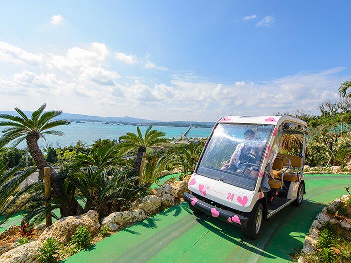 一邊欣賞美景,一邊搭乘自動遊園車朝展望台移動