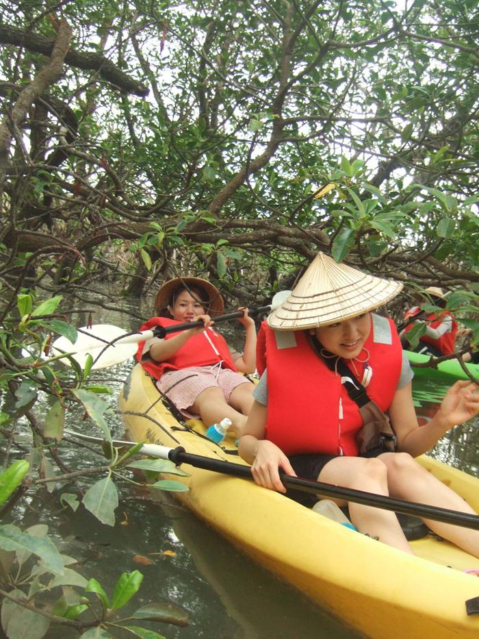 カヌーに乗ってマングローブ探検  石垣島のマングローブを枝をかき分け進んでいこう!!