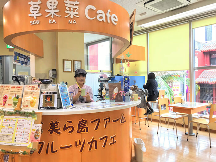 The original smoothies with Okinawan ingredients are available in-store cafe