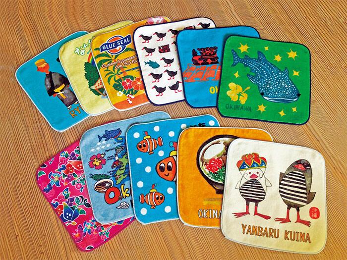 沖縄感溢れる、彩り鮮やかで可愛いデザインのオリジナルミニタオルが約30種類以上!お土産や自分用に。
