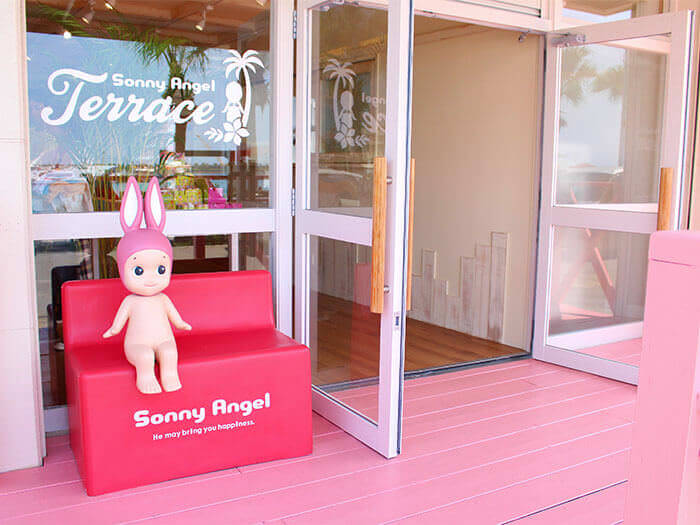 It is marked out by its pink wooden deck. Take a seat on a bench have your picture taken with Sonny Angel.