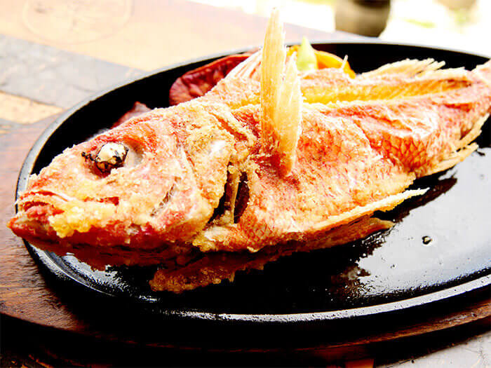 A gorgeous deep fried dish of fresh,locally caught fish prepared with Okinawa's famous butter soy sauce flavor.