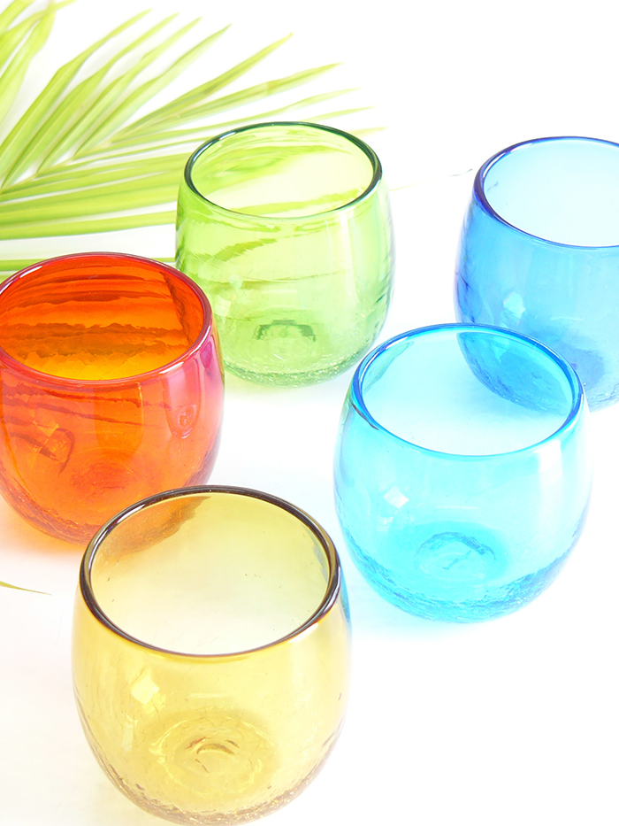 Colorful handmade glasses form an impression of the nature in Okinawa