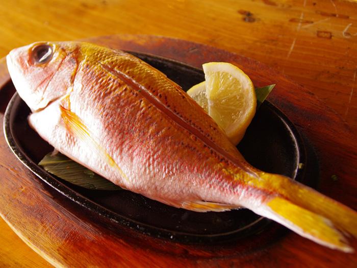 是使用一整條近海魚搭配奶油經過火烤後所做的一道料理