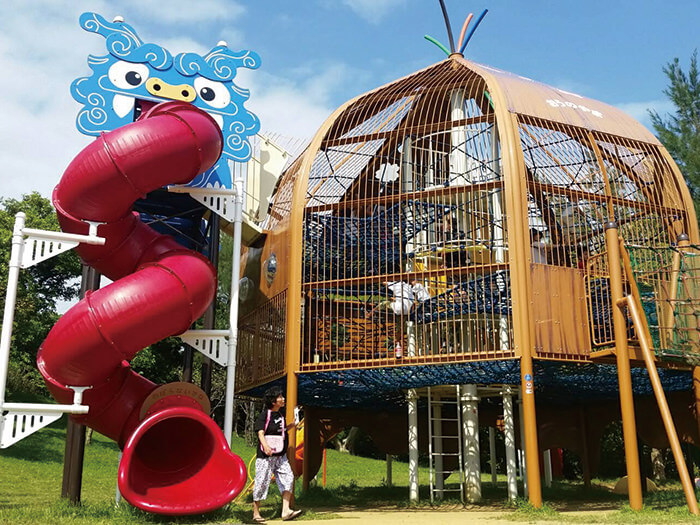 The dragon-looking roller slides that come out of the play area will thrill you.
