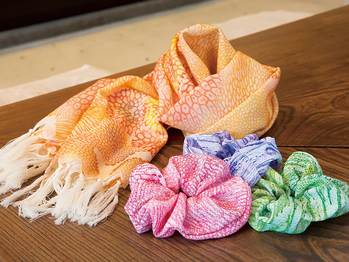 Unique scrunchies and scarves that incorporate Okinawan tradition