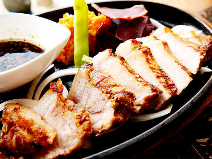 "Enjoy the tender meat and top quality fat of the highly rare ""Beni Agu Pork""."