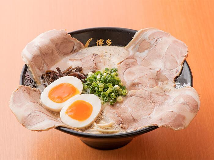CHA-SHU ramen with seasoned half boiled egg. Great flavors with an artistic presentation.