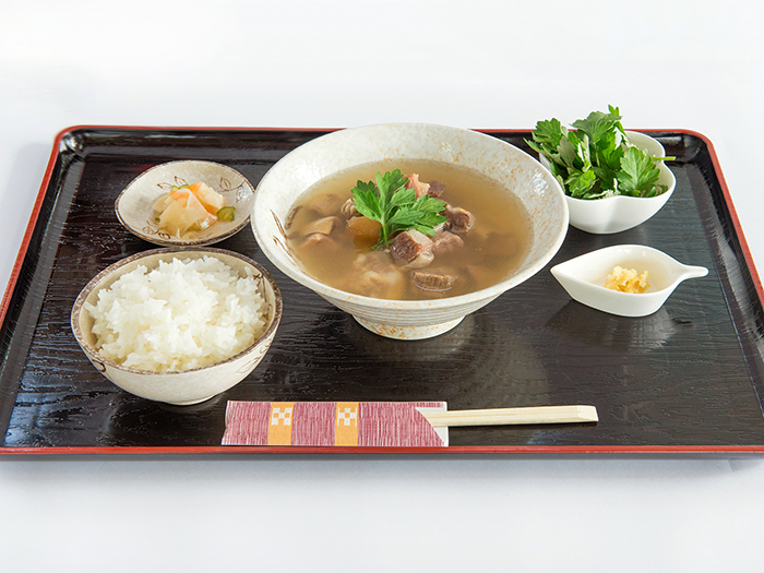【Goat Soup set】 Goat meat is referred to as helping with re-energization. We serve them with Mugwort!  You can enjoy the goat soup at 「Suppon kan」.