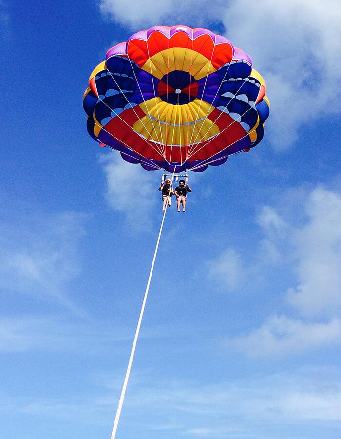 乘拖曳傘在沖繩天空遨遊