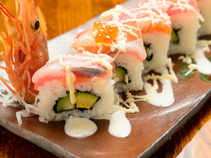 The restaurant's original sushi roll is filled with seafood and avocado.