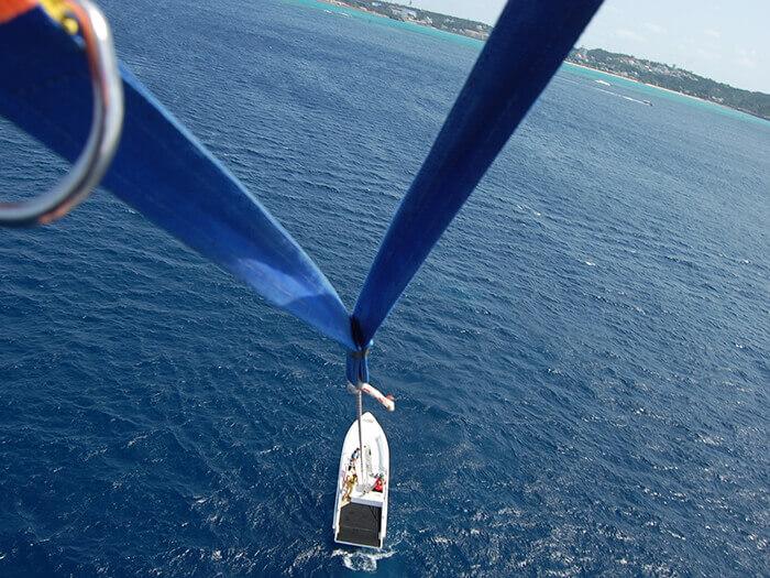 船速漸漸加快,船隻看起來越來越小,才一晃眼,拖曳傘已經攀到40公尺的高空上。