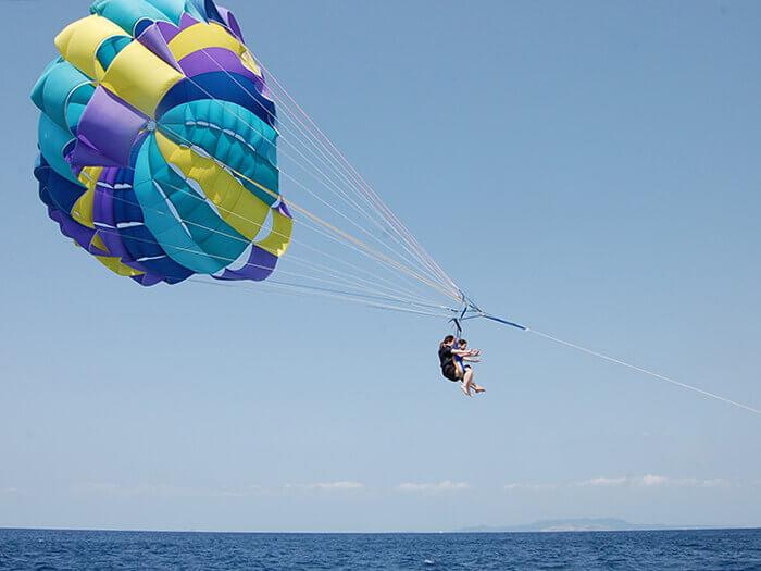 把安全背帶和拖曳傘連結後,伴隨著工作人員的一聲令下:「起飛!」小編就從船上冉冉升空。
