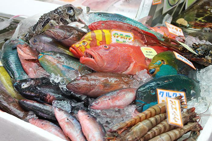 亜熱帯色の新鮮な魚介類 珍しい食材が並ぶ市場内は活気溢れている