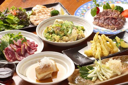 沖縄産の新鮮な食材を使った沖縄料理は絶品  沖縄料理は500円均一。だから安心して色々な種類を楽しんでいただけます。