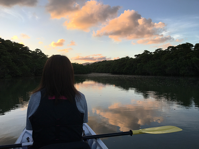 夕焼けも星空も楽しめる夕暮れナイトカヌー 行きは夕暮れ、帰りは星空。夜のマングローブで水面散歩。