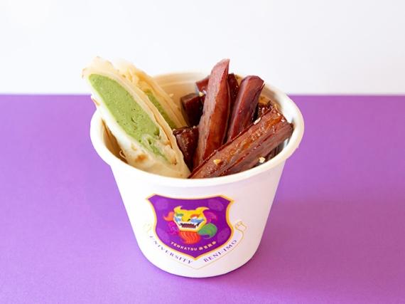ユニバーシティ紅芋 600円(税込) 沖縄風大学芋とフーチバー(琉球ヨモギ)のアイスを沖縄の昔ながらのおやつ「ポーポー(沖縄風クレープ)」で包んだひやあつスイーツ
